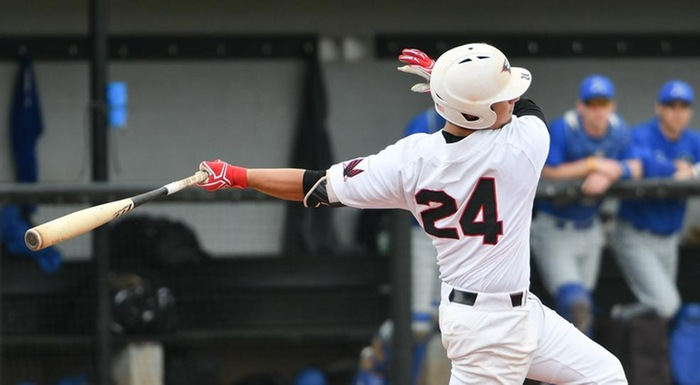 Rhys Cratty had a single, a double, and three RBI against St. Johns River. (Photo by Tom Hagerty, Polk State.)