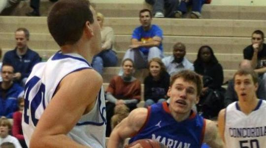 Falcon Men's Basketball escapes with hard-earned win over Marian