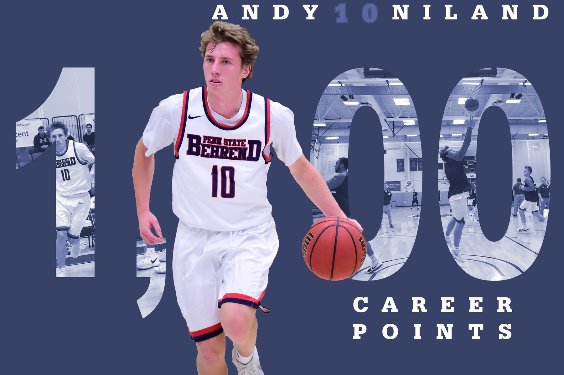 Niland Scores 1,000th; Men's Basketball Falls to La Roche