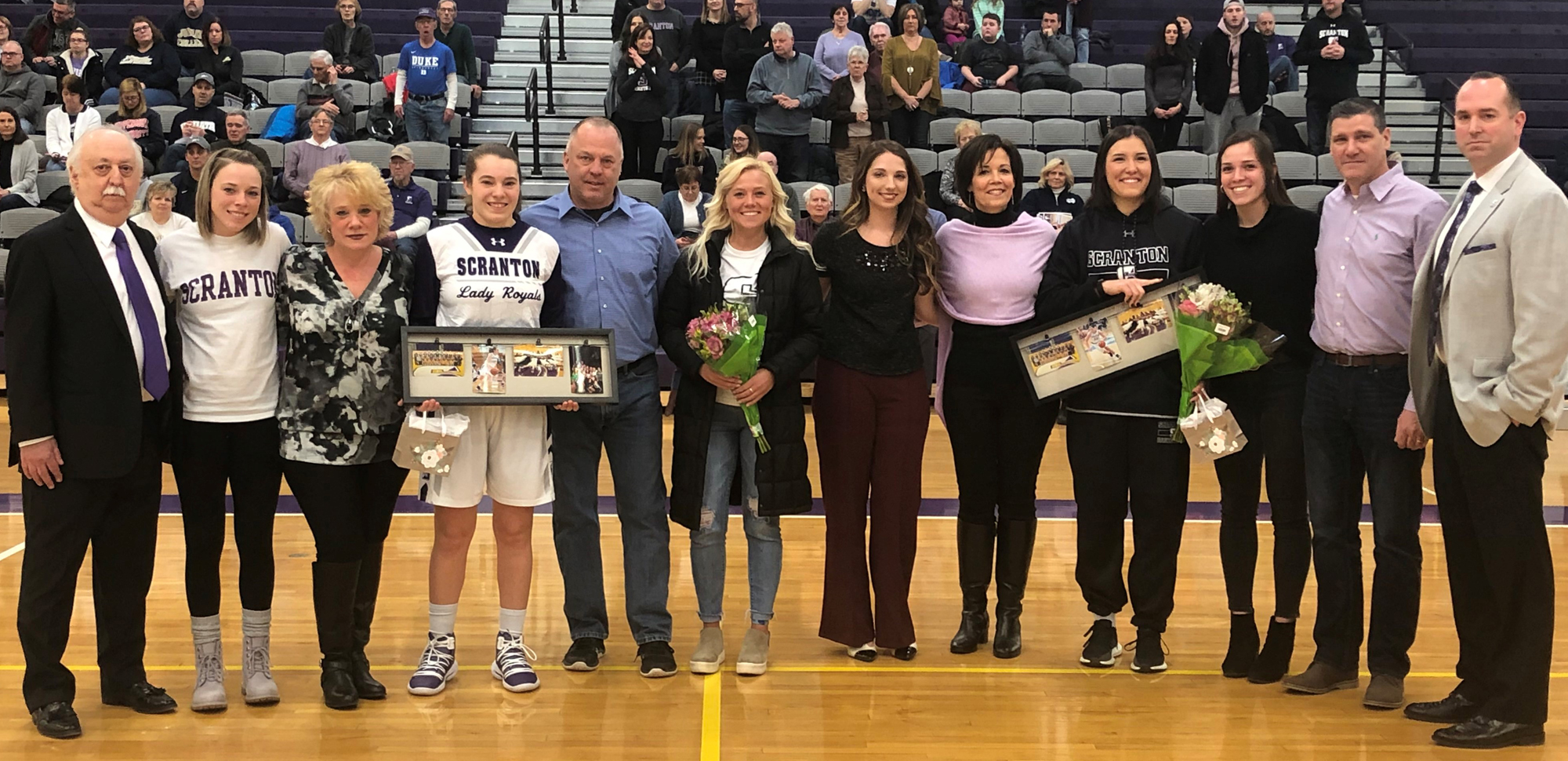 Senior's Julia Gantz and Bridgette Mann were honored before Saturday's win over Juniata inside the Long Center.