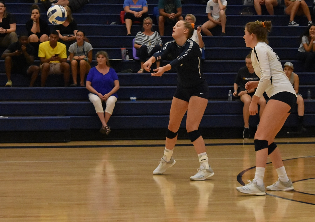 Sophomore Kaitlin Schmich (Mountain View HS) had 22 assists, eight digs, five kills, two blocks and one ace in Pima's four set win over Mesa. The Aztecs sealed a spot in the championship round with a four set win over Glendale. They will play South Mountain Community College on Saturday for the Region crown. Photo by Ben Carbajal