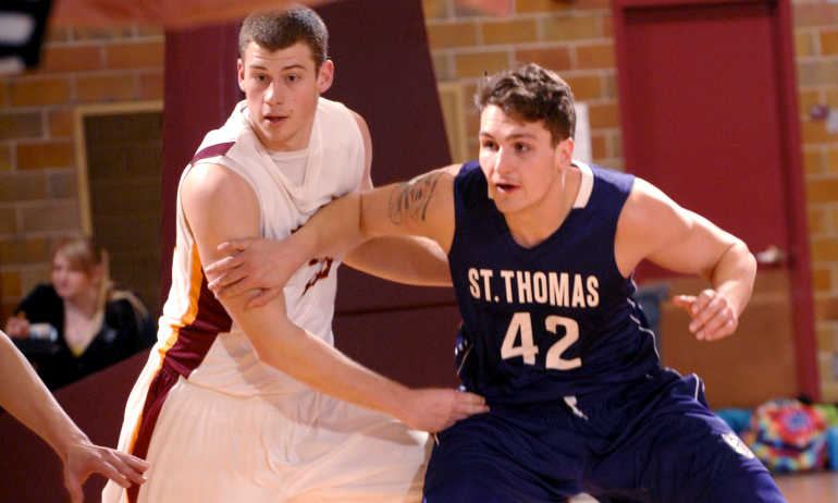 Junior Brady Syverson had six points and five rebounds in the Cobbers' loss at No.5-ranked St. Thomas.