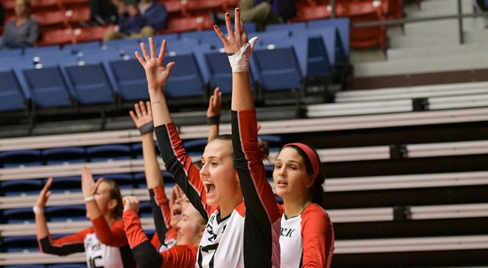 Dominika Nemcova and teammates cheer as the Eagles battle Miami Dade. (Photo by Tom Hagerty, Polk State.)