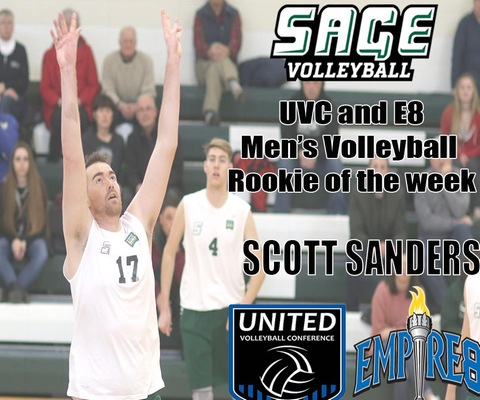 Sanders collects Rookie Awards from E8 and UVC for second straight week