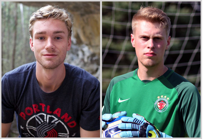Striker Everett Orgnero, left, and goalkeeper Simon Dawe are both joining the MacEwan Griffins from Calgary.