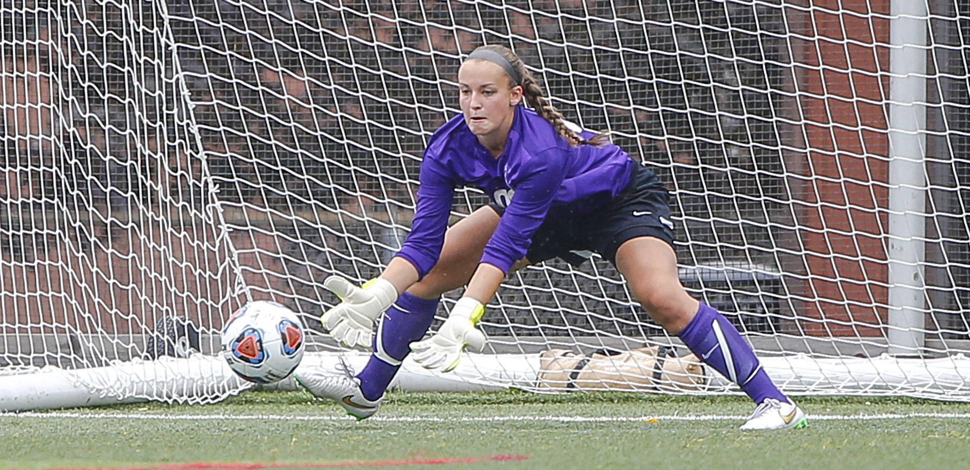 Senior goalkeeper Krissy Welsh made six saves in Tuesday night's 1-0 overtime loss at Swarthmore.