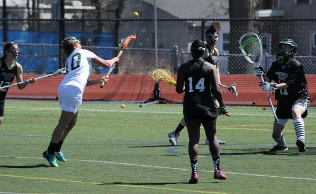 Freshman Sydney Forshay (no. 10) scored two goals, including the game-winner, as the Keuka College women's lacrosse team knocked off Utica College 11-10 Wednesday afternoon (photo courtesy of Carly Volante, Keuka College Sports Information Department).