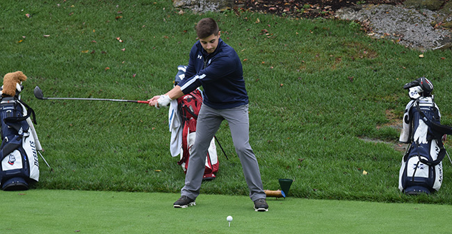 Victor Tavares '21 tees off on the second hole at the Lehigh Country Club during the John Makuvek Cup.