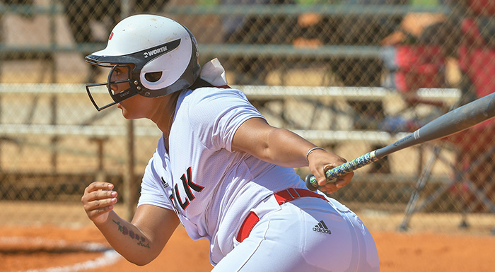 Destinee Jackson had two hits, two walks, two runs, three stolen bases, and an RBI in two games against Miami Dade. (Photo by Tom Hagerty, Polk State.)