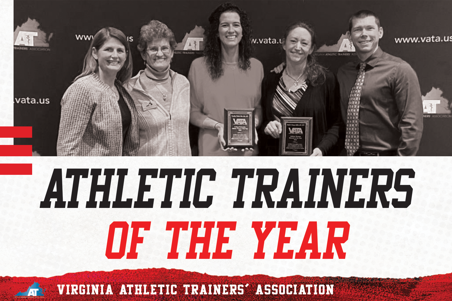 Graphic of athletic trainers of the year. Left to right: Dr. Debbie Bradney, Dr. Pat Aronson, Caroline Wesley Siler, Dr. Emily Evans, and Dr. Tom Bowman