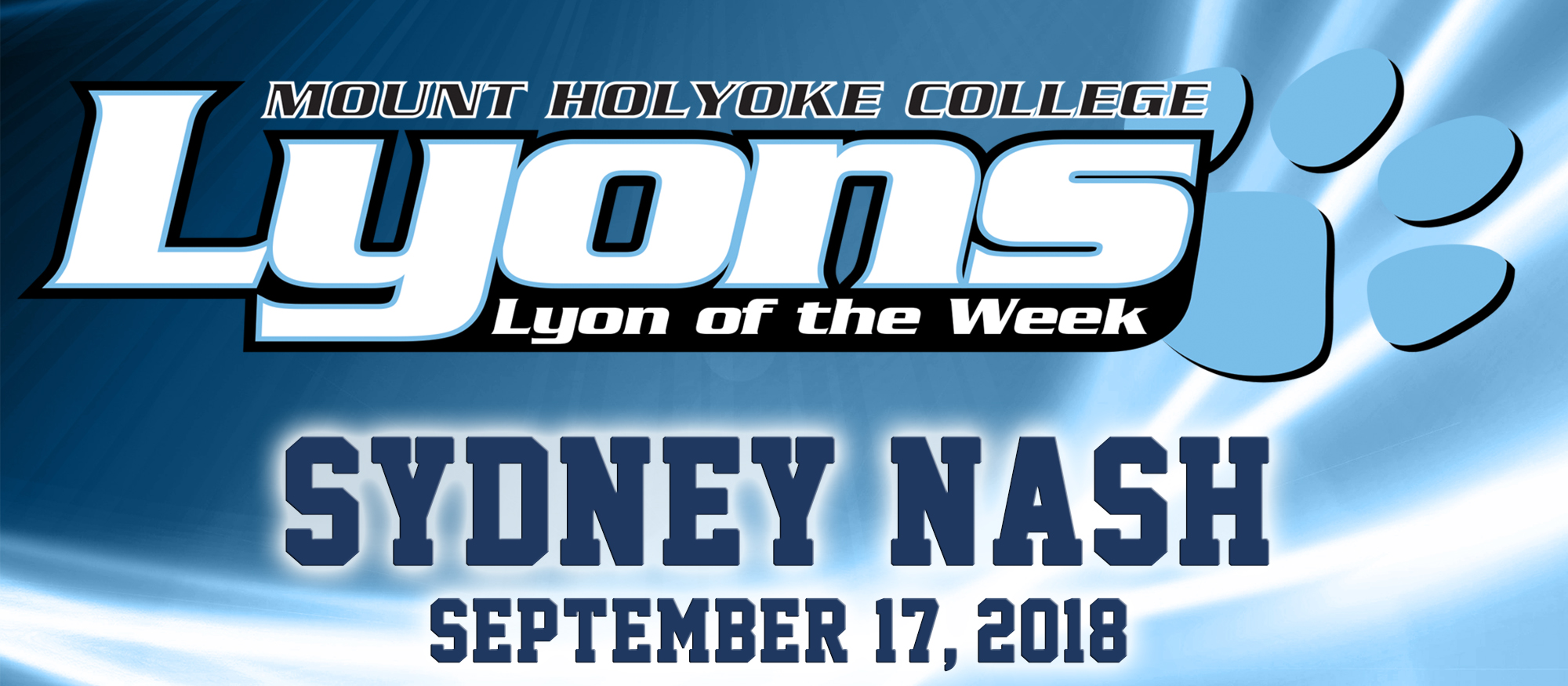 Graphic for the September 17, 2018 Lyon of the Week, Sydney Nash from cross country.
