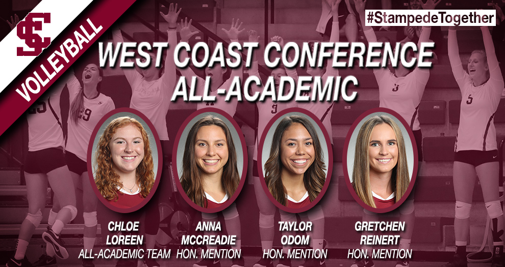 Four Volleyball Players Recognized in WCC All-Academic Honors