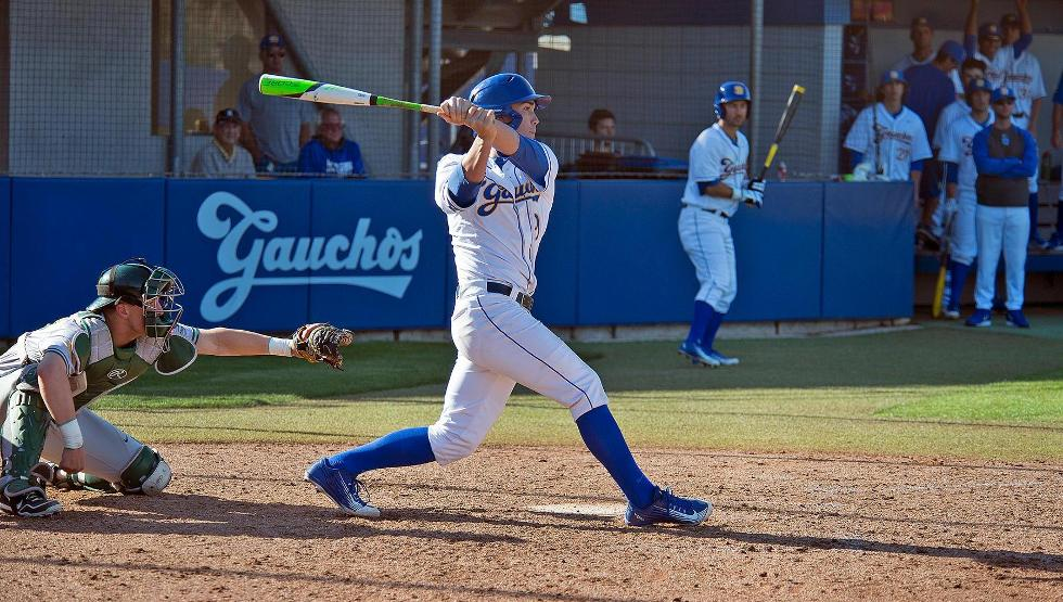 JJ Muno clubbed his first career HR in a 8-2  UCSB win on Opening Day (Photo by Eric Isaacs)