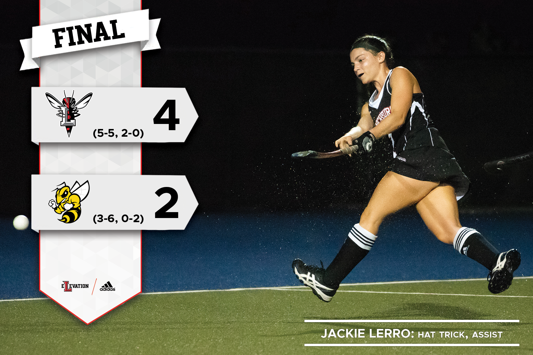 Jackie Lerro hits a field hockey ball. Graphic showing 4-2 final score and team logos.