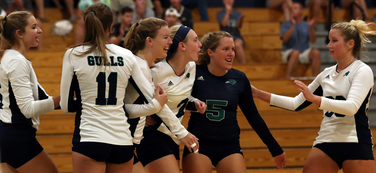 Image of the women's volleyball team celebrating a point against Amherst.