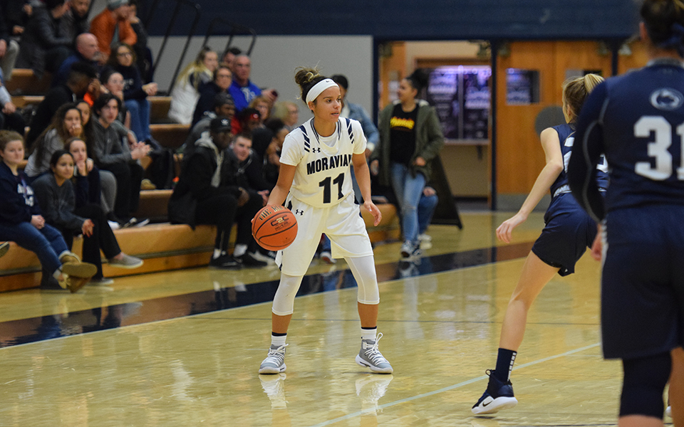 Senior guard Tyis Mullen sets up the offense in a game versus Penn State Lehigh Valley in Johnston Hall in November 2018.