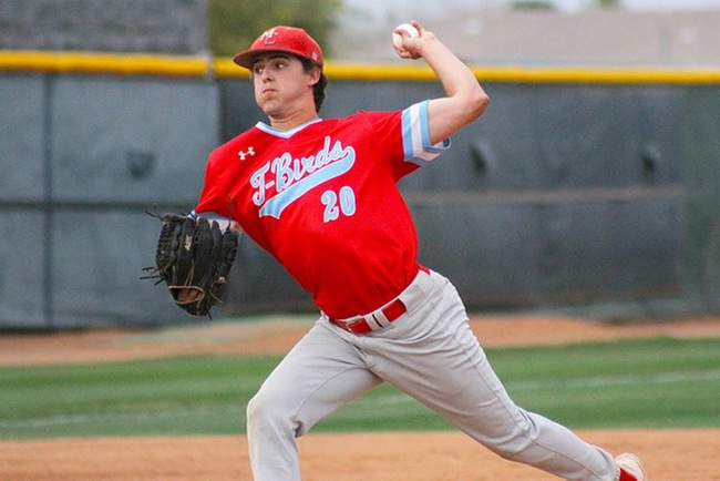 Holden Bernhardt pitched six innings and strike out 10 while earning the win for Mesa in game two down at Arizona Western. (Photo by Aaron Webster)