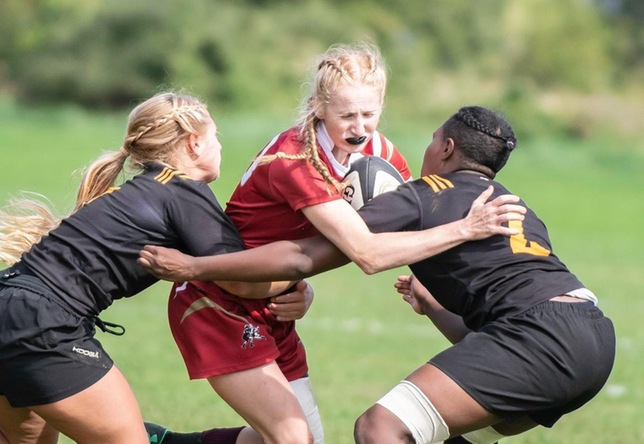 Brooke Stafford women's rugby action vs. AIC
