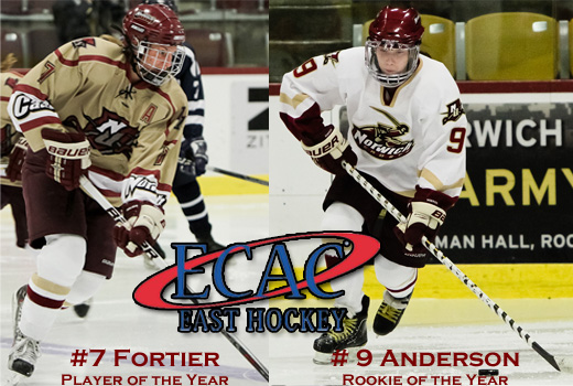 Women's Hockey: Fortier, Anderson earn major awards as Norwich dominates ECAC East season awards for second straight year