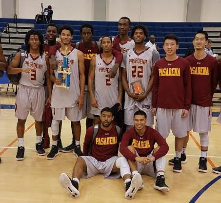 Kyle Mitchell holds his All-Sequoias Tourney plaque and Josiah Woods with the consolation title trophy after PCC finished 2-1 and in fifth place at the College of the Sequoias Kirby Mannon Tournament Dec. 14-16, photo courtesy of coaching staff.