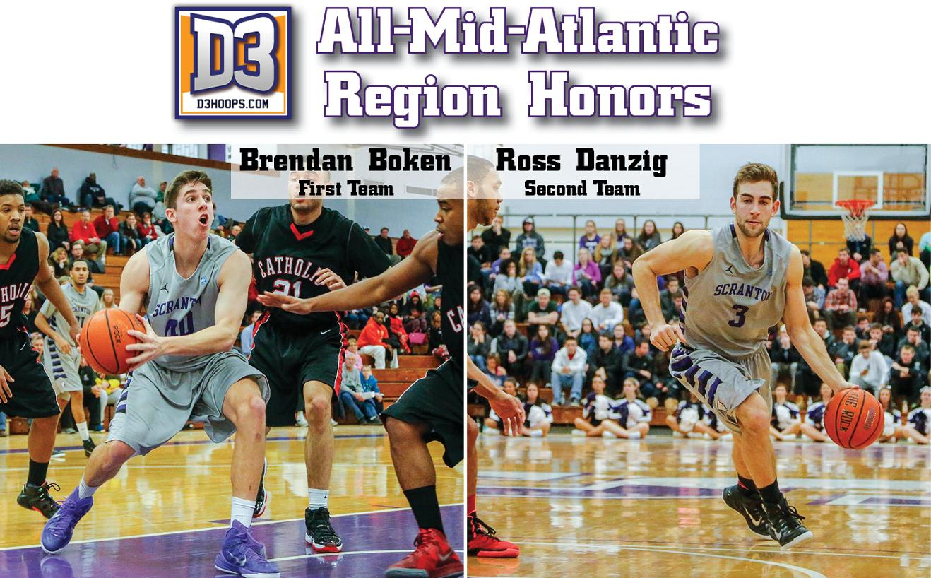 Brendan Boken (left) and Ross Danzig (right) earned All-Middle Atlantic Region honors today by D3hoops.com.