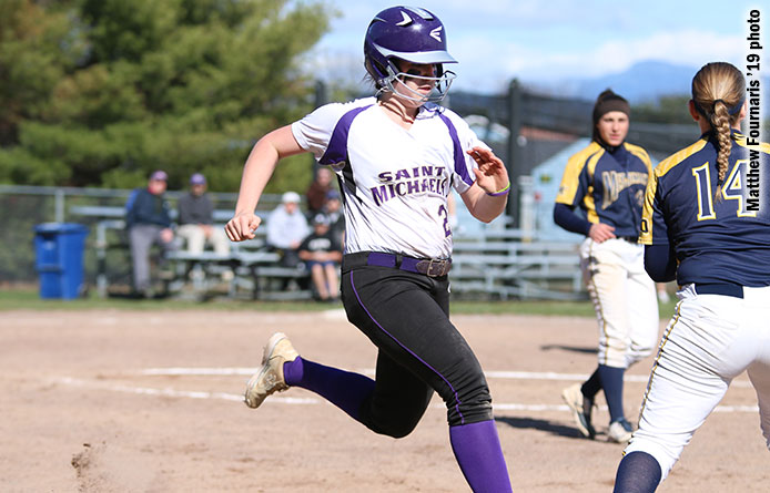Softball suffers pair of one-run losses, 4-3 (9) and 3-2, to Assumption
