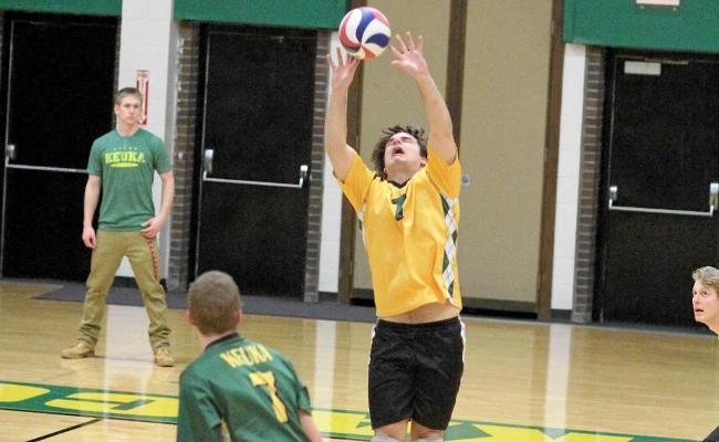 Freshman John Sprague (No. 1) and the Keuka College men's volleyball team split at the first NEAC crossover competition of the year. The Storm swept Cazenovia College before falling to Wells College in five sets (photo courtesy of Ed Webber, Keuka College Sports Information Department).