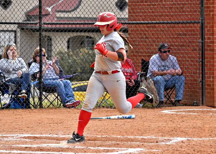 Amber Wade scored the winning run in Game 2 of Sunday's doubleheader with Greensboro College. Wade was 2-for-3 with an RBI and a run in Game 2. (Photo by Wesley Lyle)