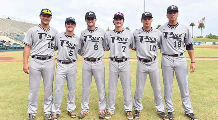 Sophomores Zak Spivy, Kaylor Kulina, Jacob Kelley, Brandon Gali, Cody Burgess, and Joe Strzelecki represented Polk State at the All-Star Weekend. (Photo by Tom Hagerty, Polk State.)