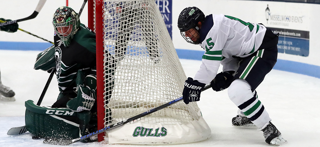 Josh Bowes tries to stuff a puck home from behind the net.