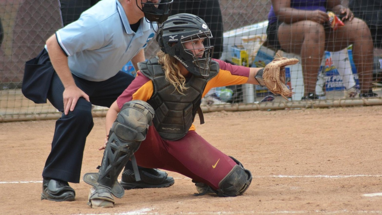 Savannah Green in action catching behind the plate