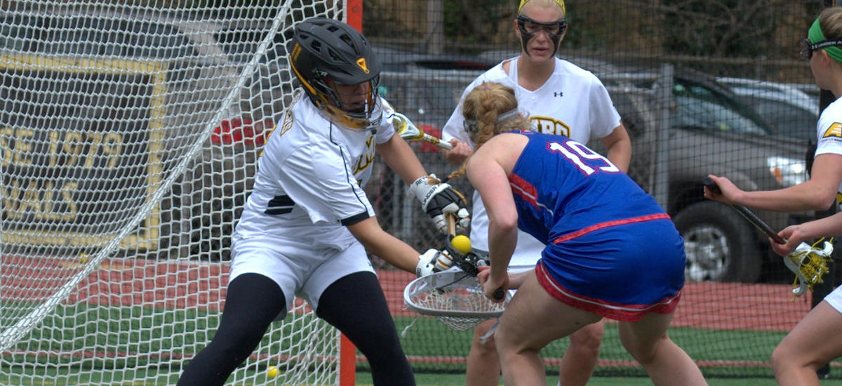 Senior Ashley Peacock recorded a UMBC career-high 13 saves in the Retrievers' 15-10 win over New Hampshire (Photo by Jack Miller)