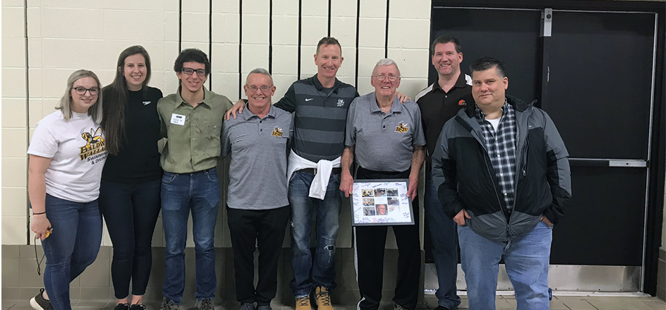 Swimming and Diving Alumni Tessa Elliott' 16, Emily Payne '15, Tyler Elgart '16, Assistant Coach Dave Tressel '73, Doug Amy '90, Diving Coach Bob Fortune '62, Greg Davis '99 and Todd Wise '92 came back to celebrate the 30th Anniversary of the Rebirth of BW Swimming and Diving