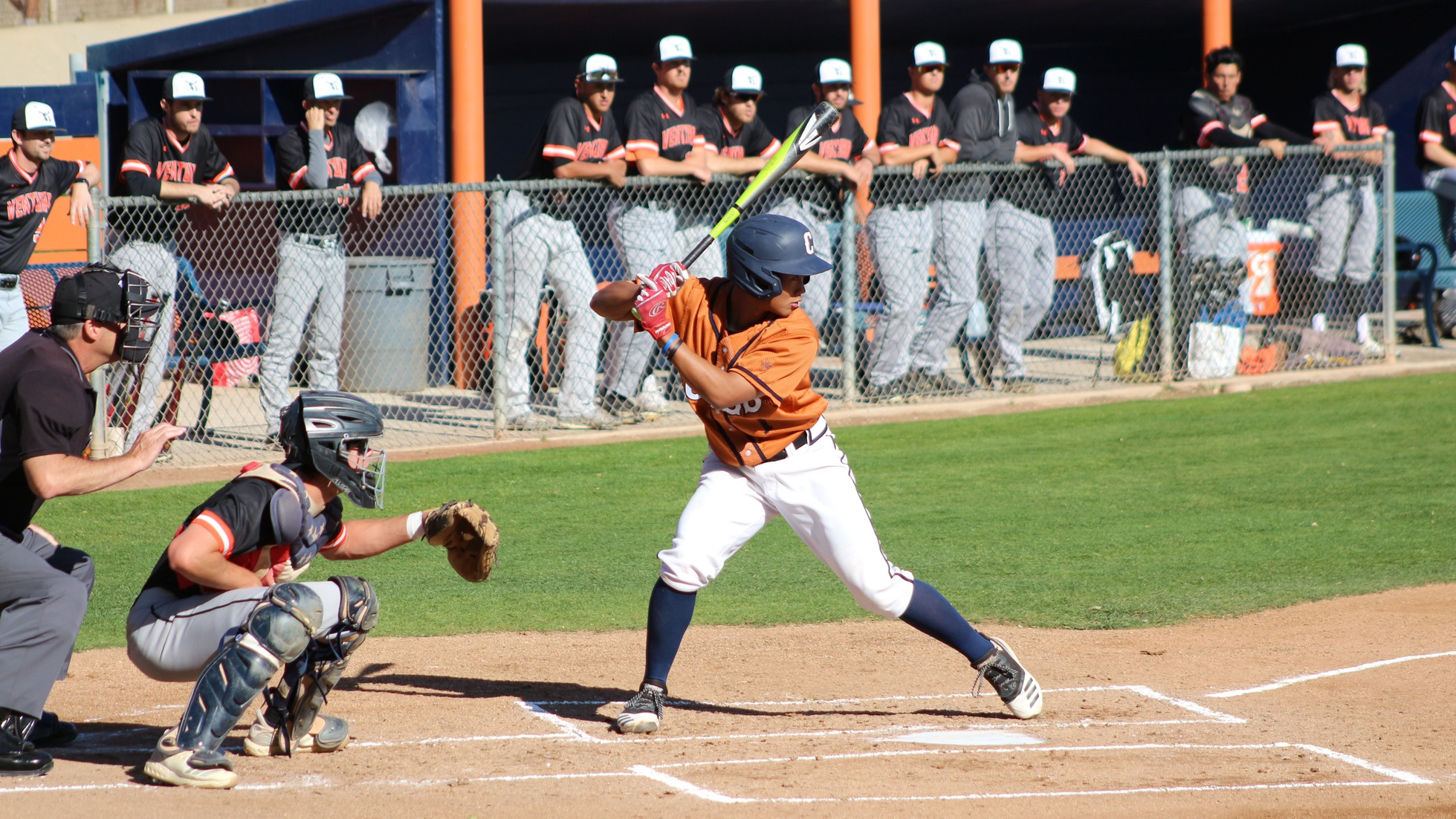 Go Hattori goes 3-for-4 at the plate against Cypress. Photo by: Brian Cone