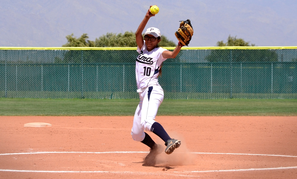 Sophomore Luisa Silvain threw five scoreless innings giving up two hits with three strikeouts and two walks in Pima's 12-0 win in the second game. The Aztecs are 9-6 overall and 6-4 in ACCAC conference play. Photo by Ben Carbajal.
