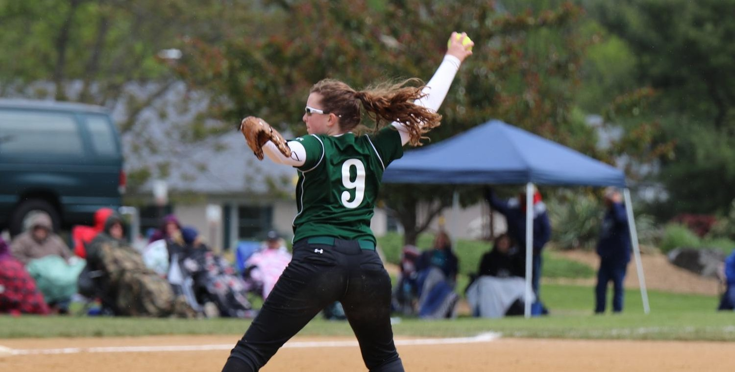 Colleen Mooney (9) and Whitney Tylor (not pictured) each threw complete game shutouts for Keuka College on Monday