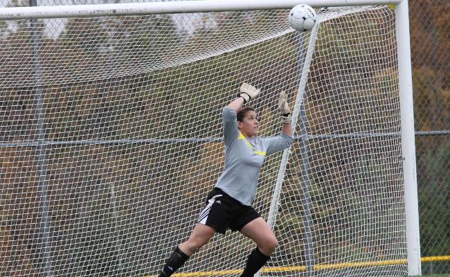 Freshman Kenna Kosinski had a career-high 15 saves in Friday's 5-0 setback vs. first-place Penn State-Berks (photo courtesy of Ed Webber, Keuka College Sports Information department).