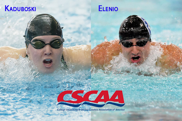 Kate Kaduboski and Frank Elenio were honored by the CSCAA