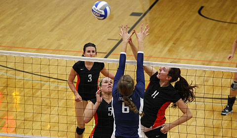 Down Two Volleyball Rallies to Take Out Whitman 3-2