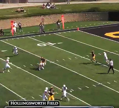 A screen grab of Haydon Miller's interception.