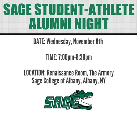 Join Sage's Department of Athletics for the Alumni Career Night on Nov. 8