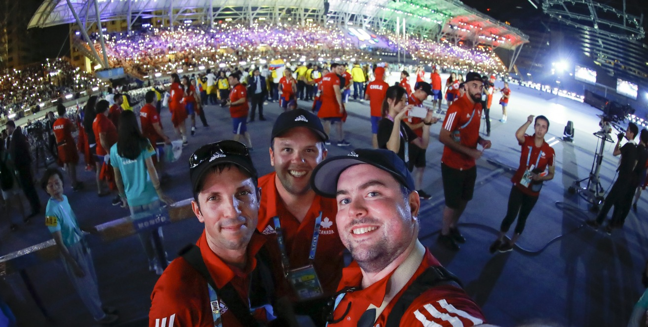 Sam Charles (Pictured on the left with Chris Cameron (centre) and  Mathieu B�langer) at the Opening Ceremony of the 2017 FISU Summer Universiade in Taipei City, Chinese Taipei. (Photo contributed)