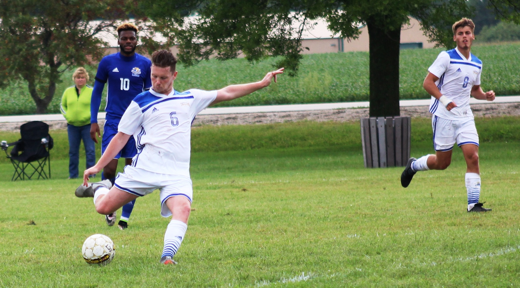 NIACC's Cian Morley kicks the ball down the field in Wednesday's match against Iowa Lakes.