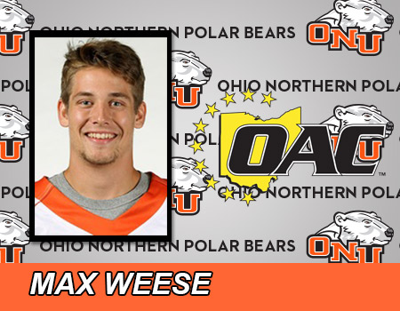 Sophomore Max Weese named OAC Offensive Player of the Week