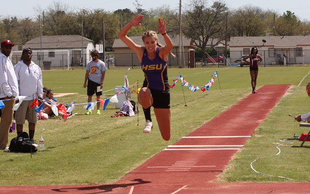 Bellah Extends School Record In The Triple Jump at HSU Invitational
