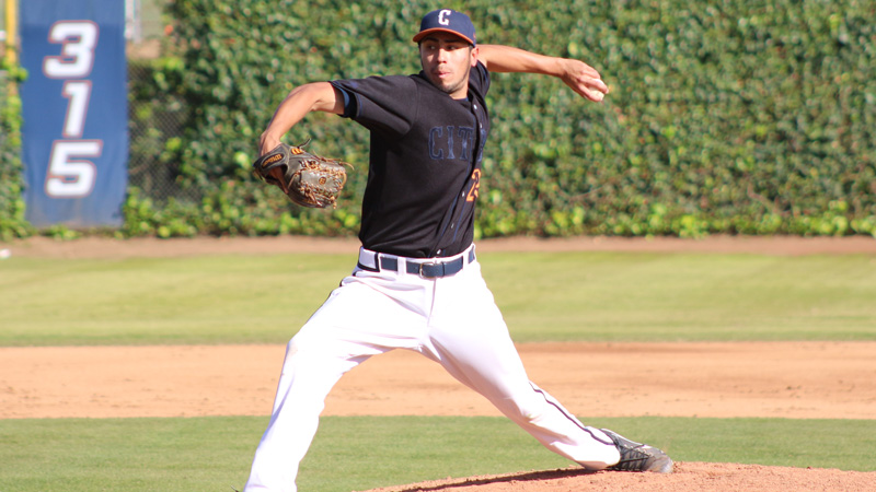 Sophomore Brennan Piceno pitched seven innings, but didn't figure into the decision on Thursday in Citrus' 11-inning loss to visiting College of the Canyons. Photo By: Mykenna De Avila