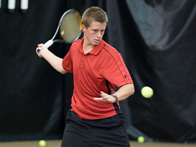 Ferris' Jack Swan was a winner at number two doubles versus Aquinas (FSU Photo Services)