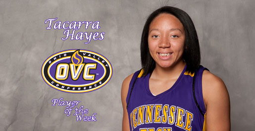Hayes voted OVC Player of the Week
