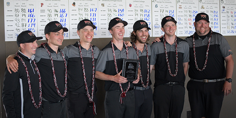 Willamette's 2018-19 NWC Mens' Golf Champions (L to R):  Assistant Coach Ryan Melnychuk, Trent Jones, Andrew Kibbee, Sam Hinton, Austin Davis, Kenneth Sheldon, Head Coach Patrick Daugherty (Photo courtesy Whitman Athletics)
