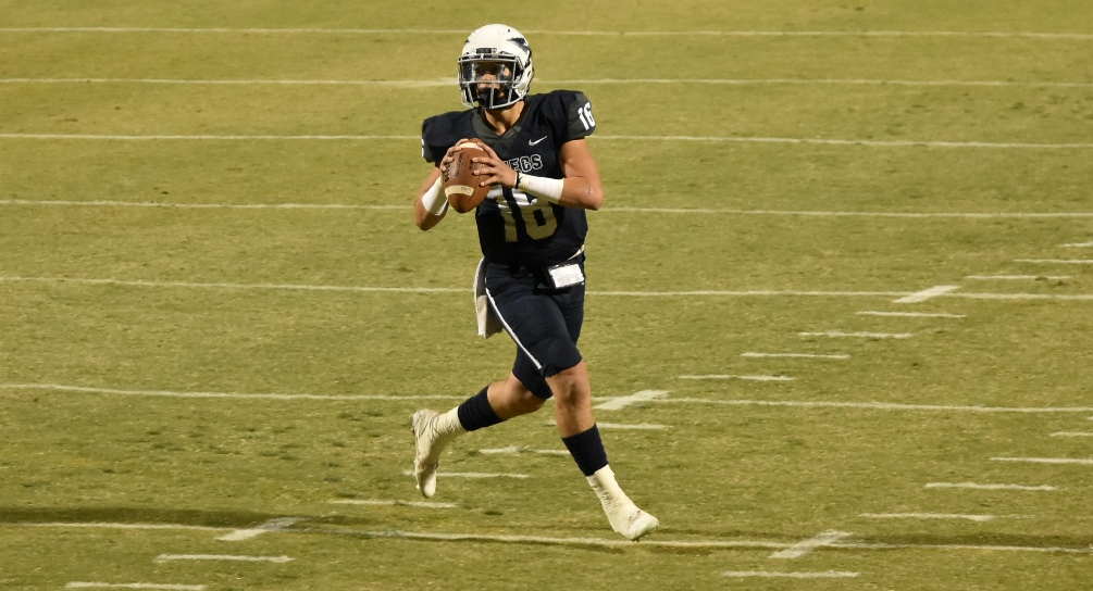 Freshman quarterback KC Moore scored a rushing touchdown but the Aztecs fell to Mesa Community College 49-17 to close out the 2017 season. The Aztecs finished 2-9 overall and 0-7 in WSFL play. Photo by Ben Carbajal.